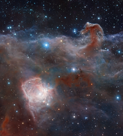 This image, the first to be released publicly from VISTA, the world's largest survey telescope, shows the spectacular star-forming region known as the Flame Nebula, or NGC 2024, in the constellation of Orion (the Hunter) and its surroundings. In views of this evocative object in visible light the core of the nebula is completely hidden behind obscuring dust, but in this VISTA view, taken in infrared light, the cluster of very young stars at the object's heart is revealed. The wide-field VISTA view also includes the glow of the reflection nebula NGC 2023, just below centre, and the ghostly outline of the Horsehead Nebula (Barnard 33) towards the lower right. The bright bluish star towards the right is one of the three bright stars forming the Belt of Orion. The image was created from VISTA images taken through J, H and Ks filters in the near-infrared part of the spectrum. The image shows about half the area of the full VISTA field and is about 40 x 50 arcminutes in extent. The total exposure time was 14 minutes. This image is available as a mounted image in the ESOshop. #L
