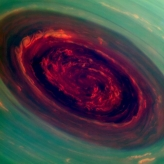 spinning vortex of Saturn's north polar storm