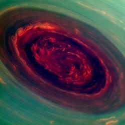 spinning vortex of Saturn's north polar storm
