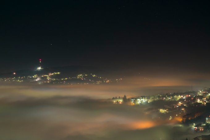 Rainbow colors of fog in Sarajevo